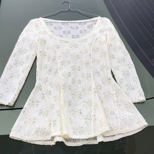 Free People Lace Long Sleeve Blouse